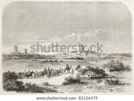 Arrival in Timbuktu, old illustration. Created by Lancelot after Barth, published on Le Tour du Monde, Paris, 1860 - stock photo