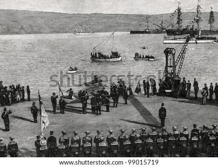 "Arrival of the Greek Prince George to Crete. Engraving by  Shyubler. Published in magazine ""Niva"", publishing house A.F. Marx, St. Petersburg, Russia, 1899"