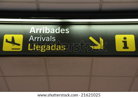Arrivals, lifts and escalators signs at Dublin International Airport