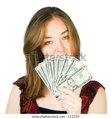 lots of money on her hand