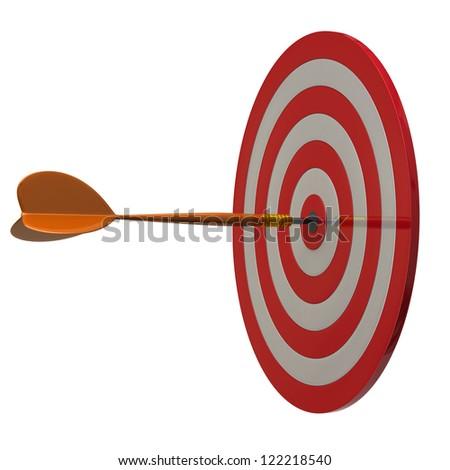 Arrow at the center of dart aim, 3d