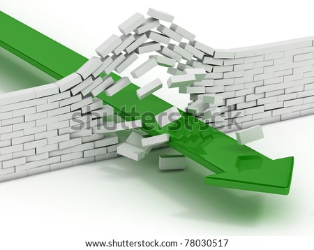arrow breaking brick wall abstract 3d illustration - power solution 3d concept - infiltration - success metaphor