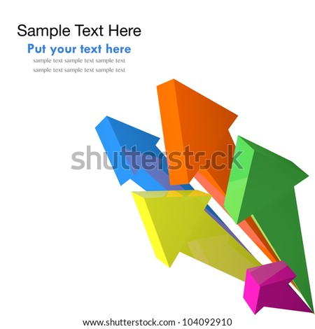 Arrow colorful objects from the corner - stock photo