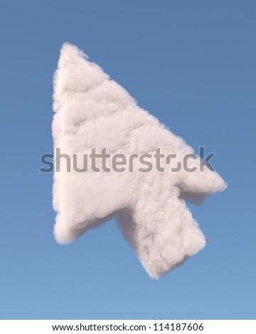 Arrow cursor symbol made of cloud