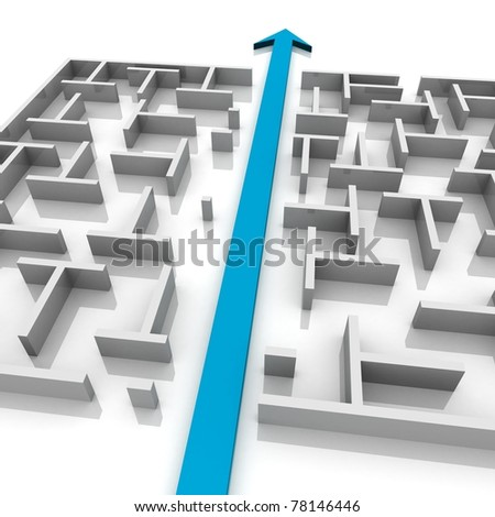 arrow cuts a maze in two parts - stock photo