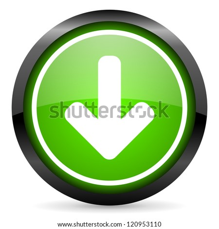 arrow down green glossy icon on white background