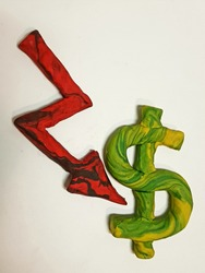 arrow down red with a pesos symbol, figures in plasticine