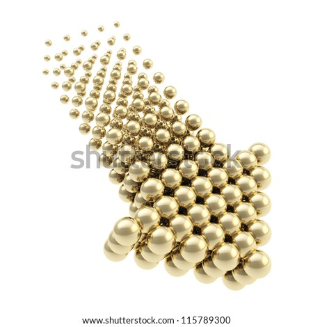 Arrow emblem glossy golden icon as upload, download or direction sign, made of spheres isolated on white background