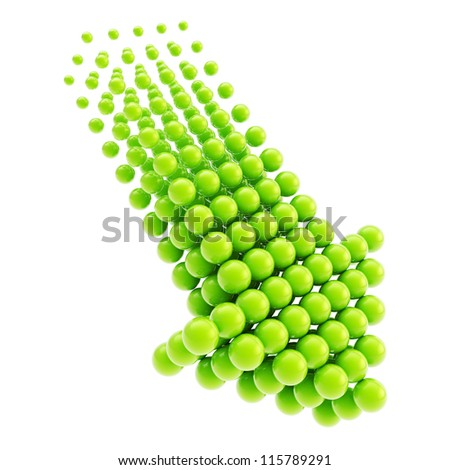 Arrow emblem green glossy icon as upload, download or direction sign, made of spheres isolated on white background