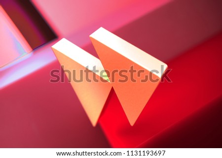 Arrow Forward Icon on the Red Geometric Background. 3D Illustration of Metallic Arrow, Forward, Next, Play, Right Icon Set With Color Boxes on Red Background.