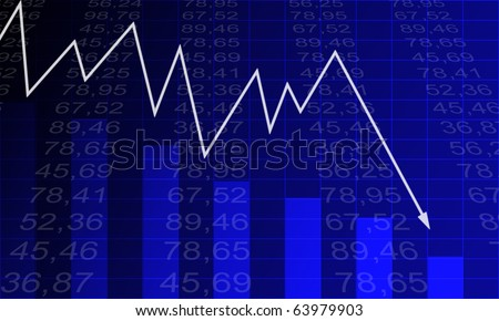 Arrow graph going down and electronic stock numbers on a blue background.