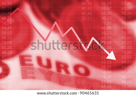 Arrow graph going down and euro currency in background