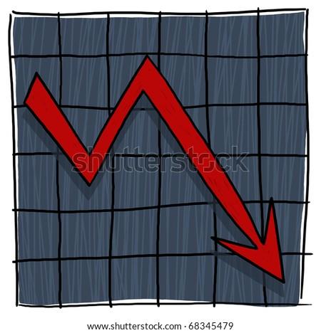 Arrow graph going down; Graph illustration