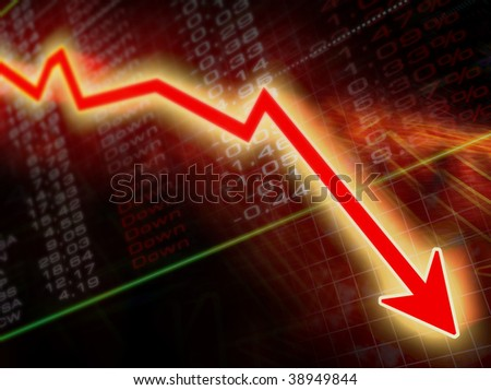 arrow graph going down on a stock result background