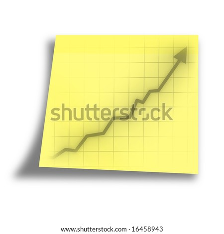 arrow graph going up on a yellow memo - stock photo
