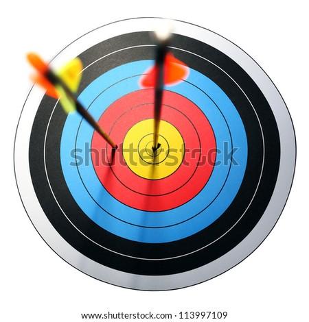 arrow hits target, one missed