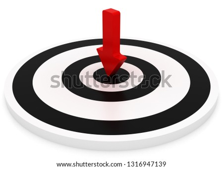 arrow Hitting A Target, Isolated On White Background. 3D rendering illustration