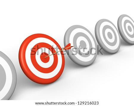 Arrow hitting on red target among grey targets. 3d rendered illustration.