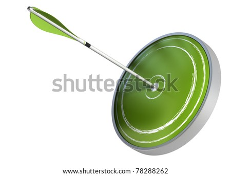 arrow hitting the center of a dart. the target is green and the image is isolated over white background