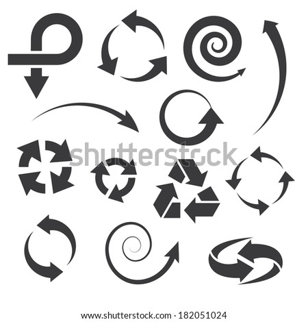 arrow icons set collections. black symbols isolated on white background. raster copy. #182051024