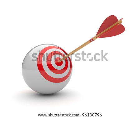Arrow in sphere target 3D. Success hitting. Business concept. Isolated on white