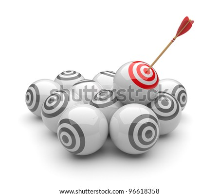 Arrow in targets 3D. Success hitting. Business concept. Isolated on white
