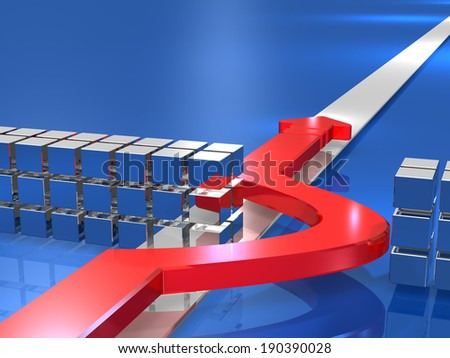 Arrow is to bypass the obstacle. - stock photo