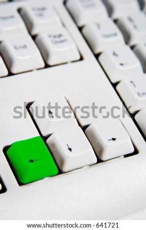 Arrow keys on a desktop computer keyboard with the left arrow green