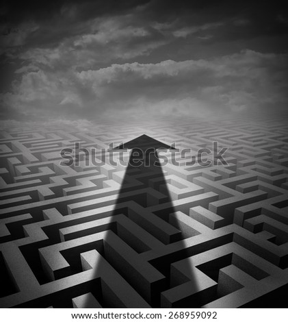 Arrow maze business concept as a cast shadow cutting across a three dimensional labyrinth as a success metaphor and solution symbol for finding an  innovative way of moving across a problem.