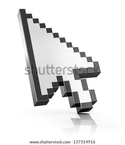 Arrow mouse computer cursor isolated on white background with reflection effect