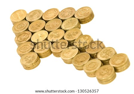 Arrow of British coins on white background