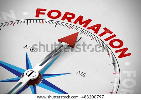 Arrow of compass showing french word 'Formation' (apprenticeship) (3D Rendering) Photo stock ©