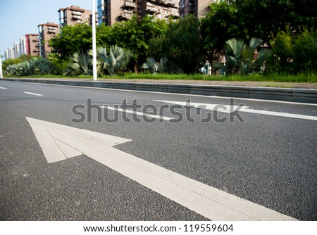 Arrow on the road, concept of business vision, innovation and success.