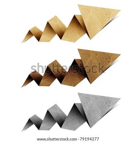 arrow origami tag recycled paper craft stick on white background