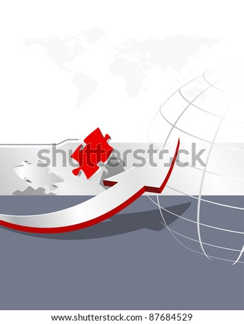 Arrow, puzzle pieces, dotted world map and wireframe globe - abstract business background - global corporate brochure design - raster illustration