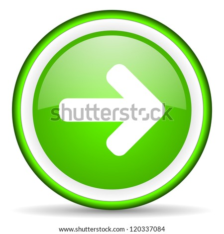 arrow right green glossy icon on white background