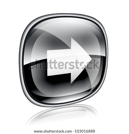 Arrow right icon black glass, isolated on white background.