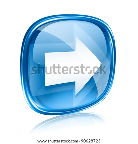 Arrow right icon blue glass, isolated on white background.