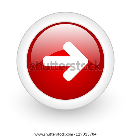 arrow right red circle glossy web icon on white background