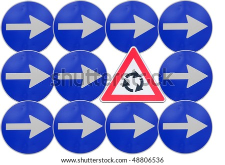 Arrow right road signs with caution roundabout sign isolated