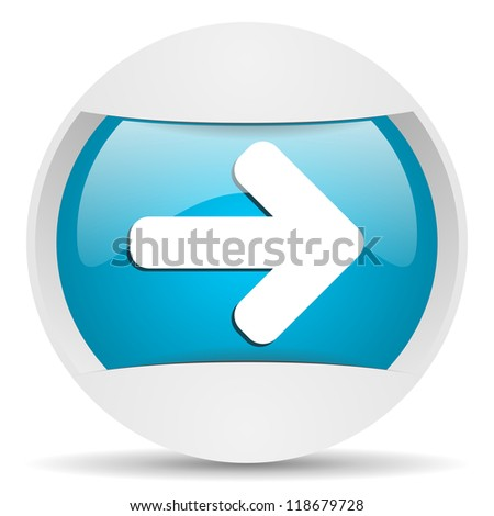 arrow right round blue web icon on white background - stock photo