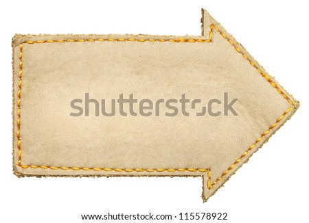 Arrow shape leather label, isolated