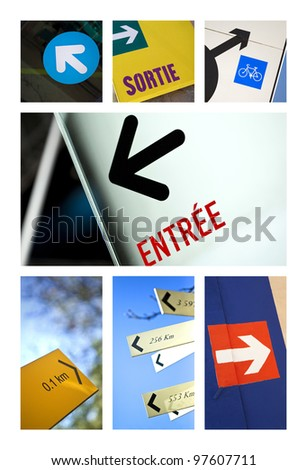 Arrow-shaped signs