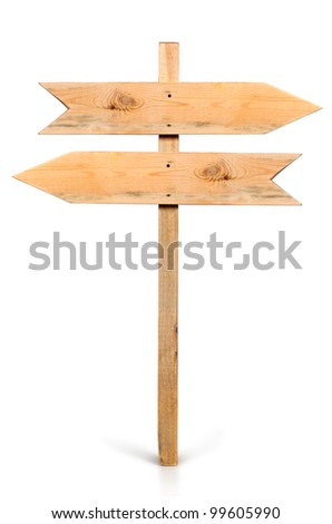 Arrow sign board made out of wood isolated, with clipping path.