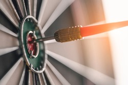 Arrow, target, business, Success, planned, Planning concept. The red arrow in the middle of the dart board shown success. The concept of setting business goals Possible business planning.