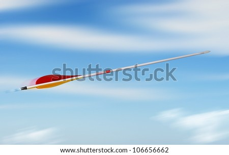 arrow throwing into the blue sky with speed effect, concept of rapidity