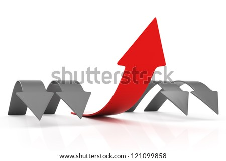 Arrow to success. leadership concept isolated on white background. 3d render