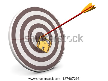 Arrow with house in the target. White background.