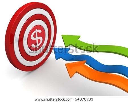 Arrows aiming dollar sign dartboard targeting concept 3d illustration