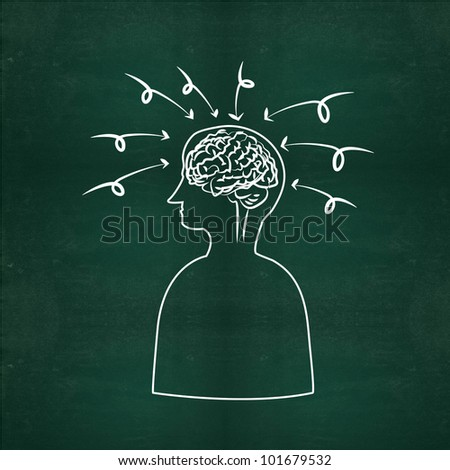 Arrows and brain on a Blackboard - stock photo